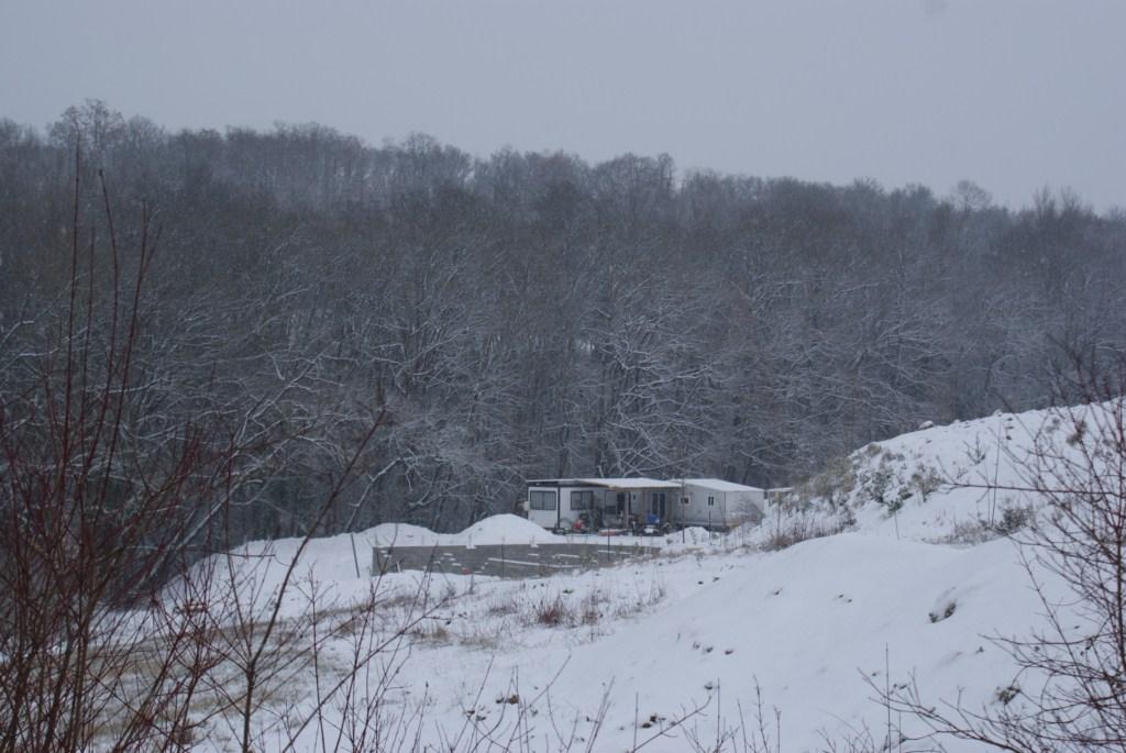 le chantier sous la neige
